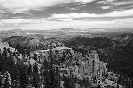 Black and White Image of Bryce Canyon