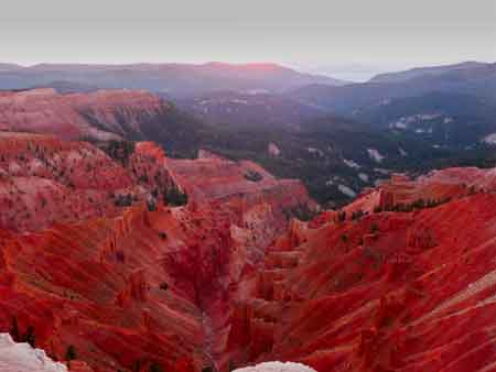 Cedar Breaks at Sunset showing bright red formations