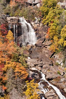 Fall colors at Whitewater Falls, NC