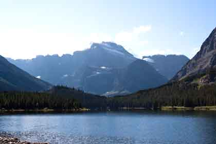 Swiftcurrent Lake with mountains in background