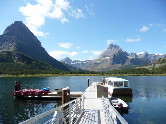 Boat on Swiftcurrent Lake