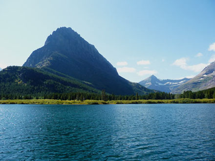 View from the boat on Swiftcurrent Lake