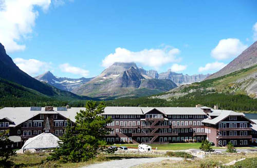 View of Many Glacier Hotel at Swiftcurrent Lake, Glacier National Park