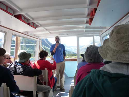 View of interior of boat showing tour guide