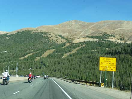 Interstate 70 east of Eisenhower tunnel showing steep grade