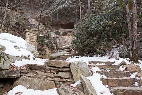 Snow at Hanging Rock State Park NC