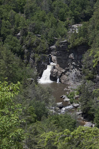 Linville Falls with lower falls in foreground and upper falls in background.