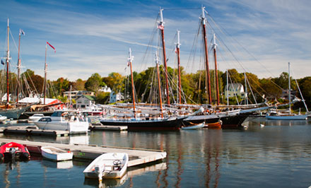 Tall ships at harbor