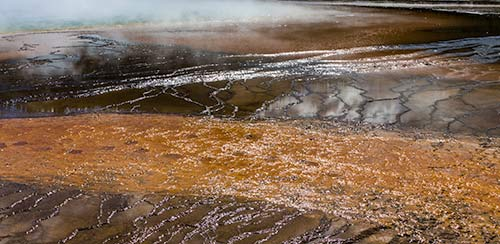 Hot spring colorful mats in Yellowstone National Park