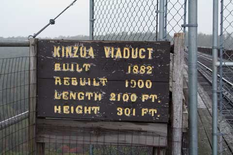 Sign about Kinzua Viaduct Built 1882 Rebuilt 1900 Height 301 Feet Length 2100 feet
