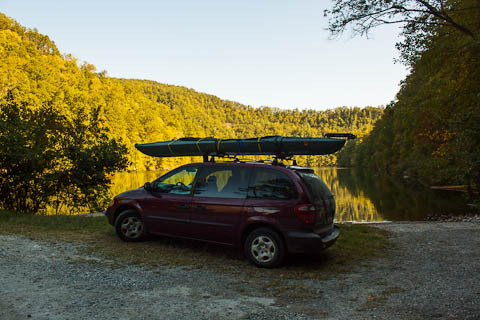 Nessie and the Mini van at Lake Yonah