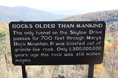 Sign about Mary's rock. Tunnel is only tunnel on the Skyline Drive. Rocks are over 1.3 Billion years old. Tunnel is 700 feet long.