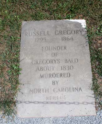 Headstone reading Russell Gegory Founder of 