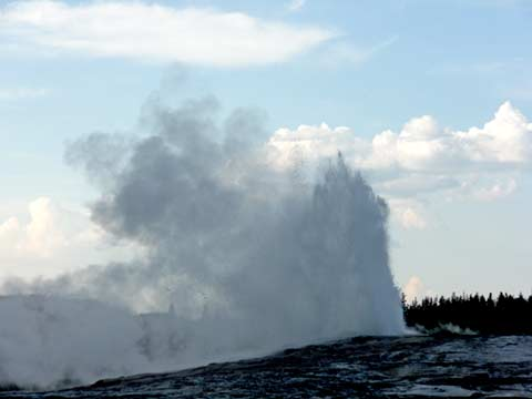 Old Faithful starting to erupt.
